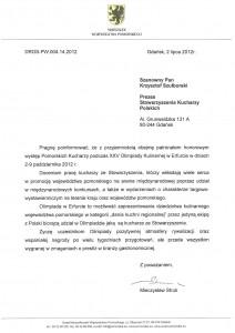 Honorowy Patronat Marszałka Woj. Pomorskiego – Olimpiada Kulinarna