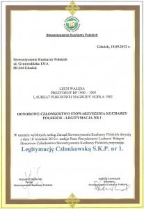 Honorowi Członkowie Stowarzyszenia Kucharzy Polskich