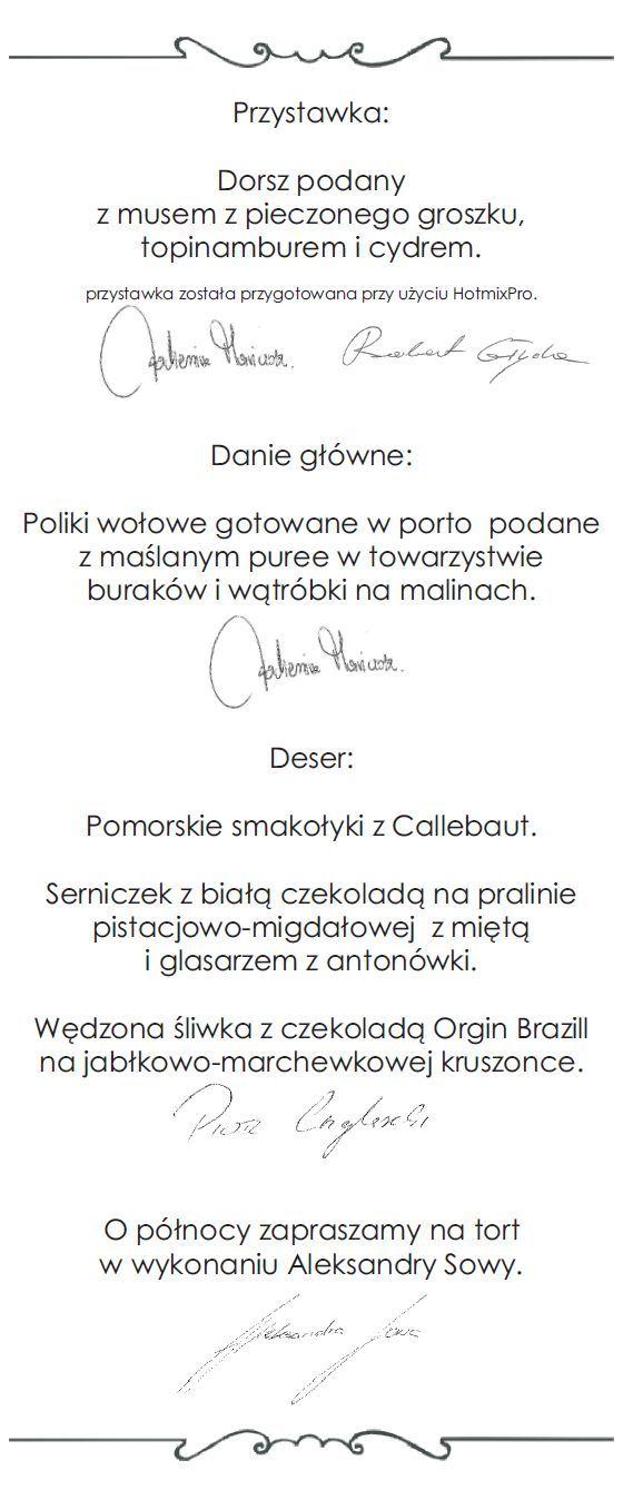 menu - gala
